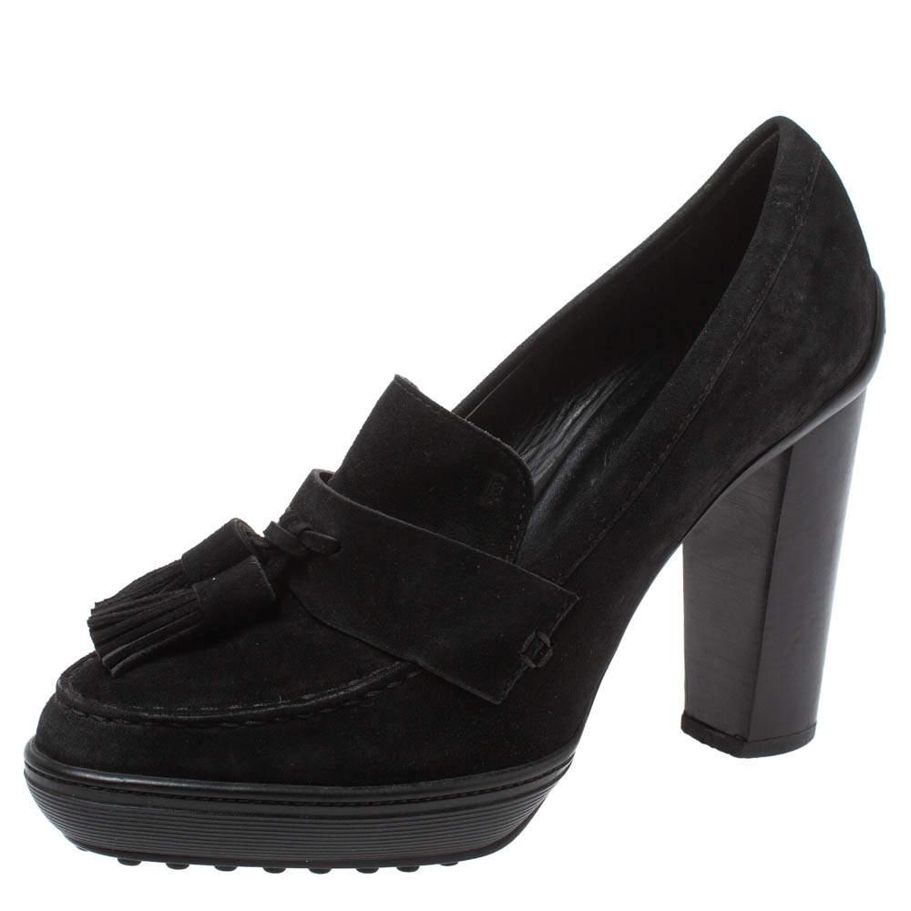 Tod's Black Suede Tassel Embellished Platform Loafer Pumps Size 38