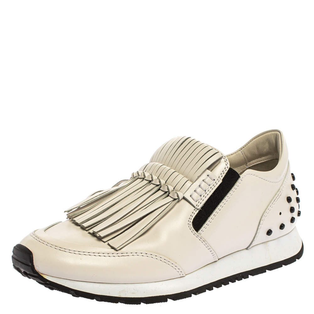Tod's White Leather Fringe Detail Low Top Sneakers Size 37