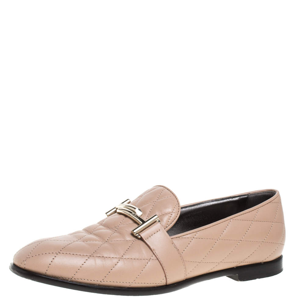 Tod's Beige Quilted Leather Double T Loafers Size 37