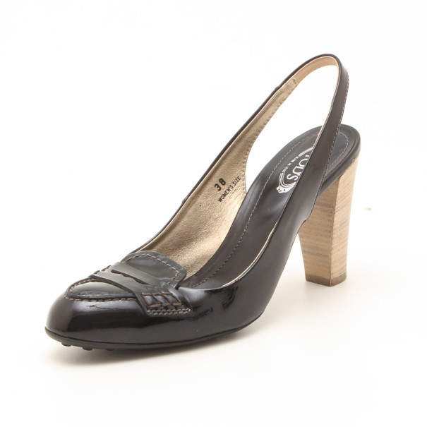 Tod's Black Leather Slingback Pumps Size 38