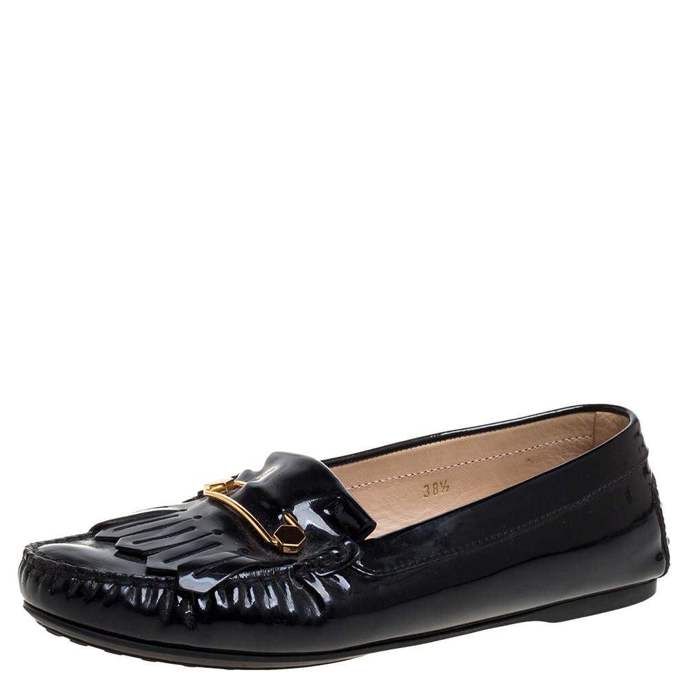 Tod's Black Patent Leather Safety Pin Fringe Loafers Size 38.5