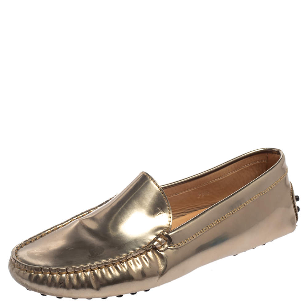 Tod's Metallic Gold Leather Slip On Loafers Size 36.5
