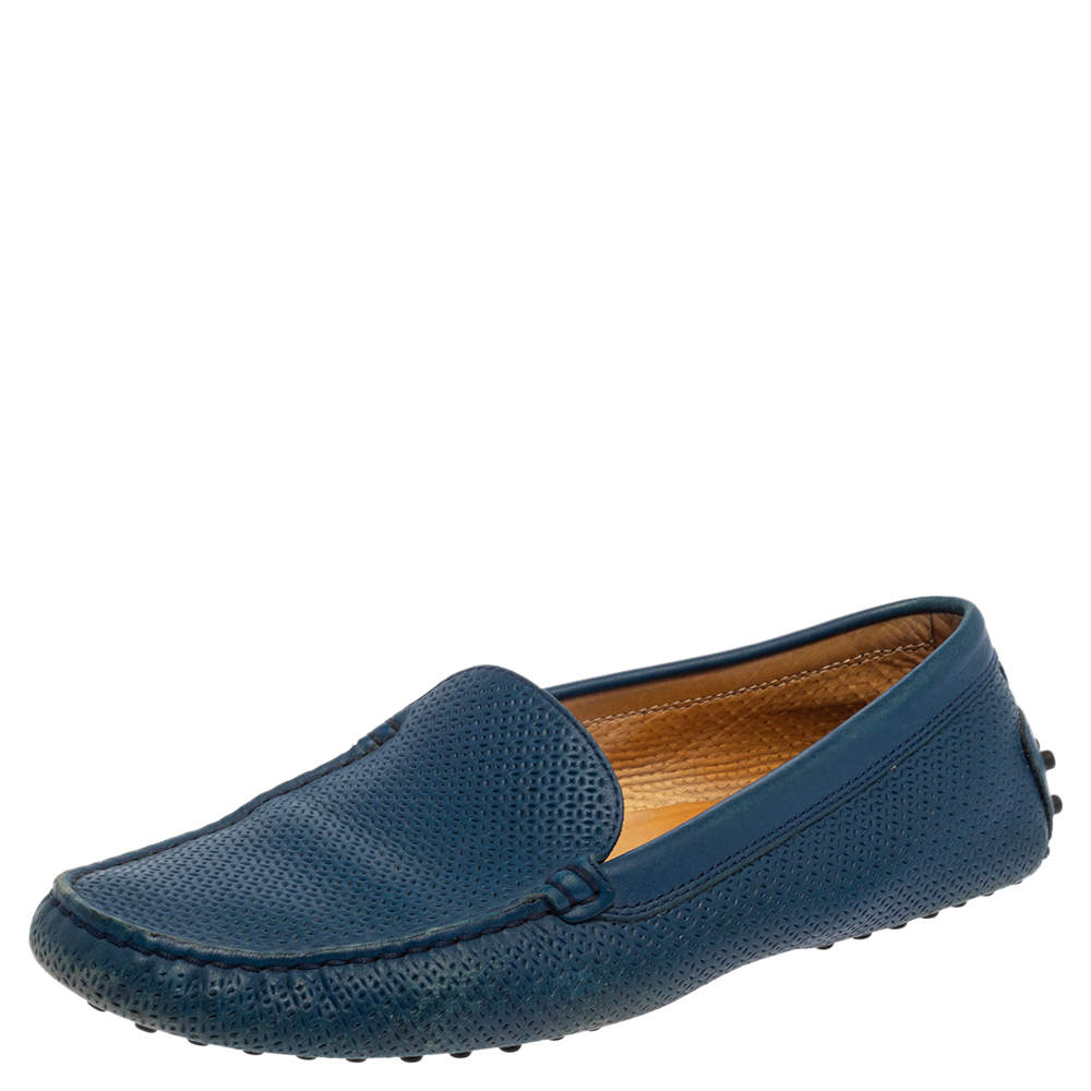 Tod's Blue Leather Slip On Loafers Size 39