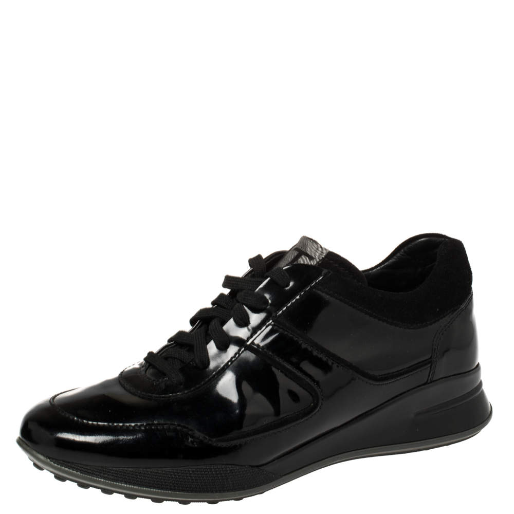 Tod's Black Patent Leather And Suede Lace Low Top Sneakers Size 40