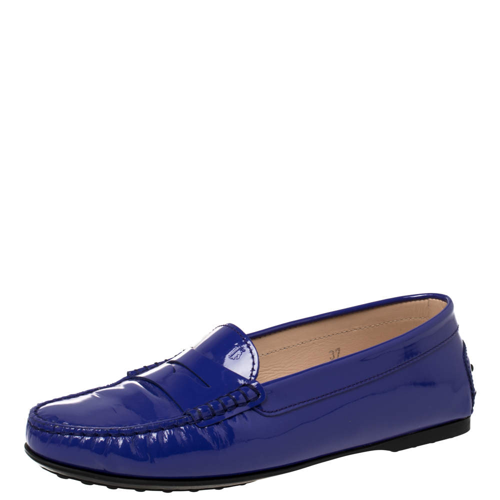 Tod's Blue Patent Leather Loafers Size 37