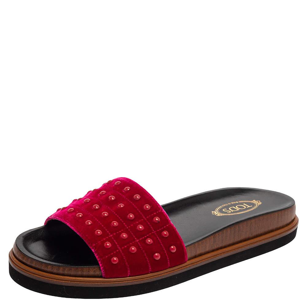Tod's Pink Velvet Studded Flat Slides Size 40