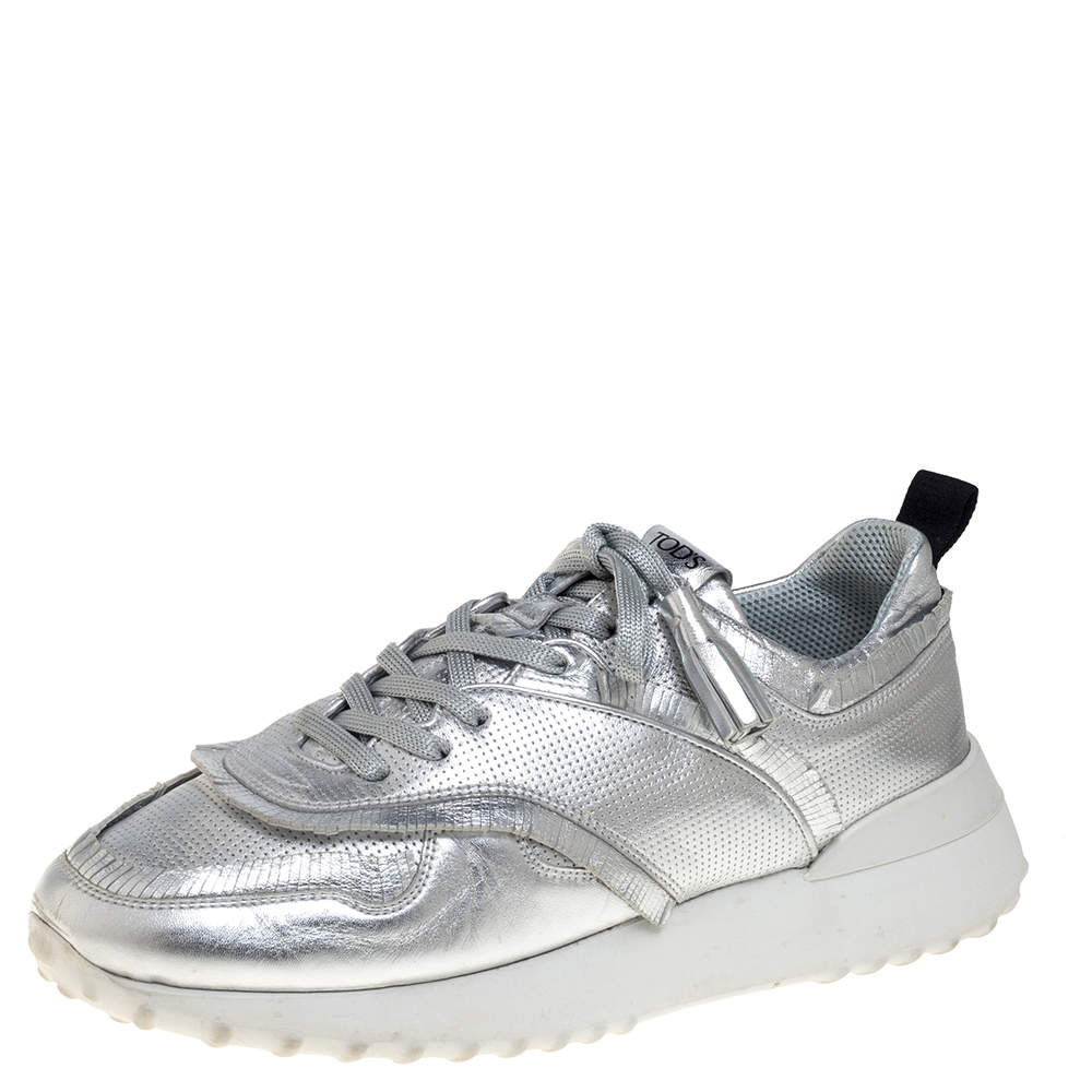 Tod's Metallic Silver Perforated Leather Tassel Fringe Low Top Sneakers Size 41