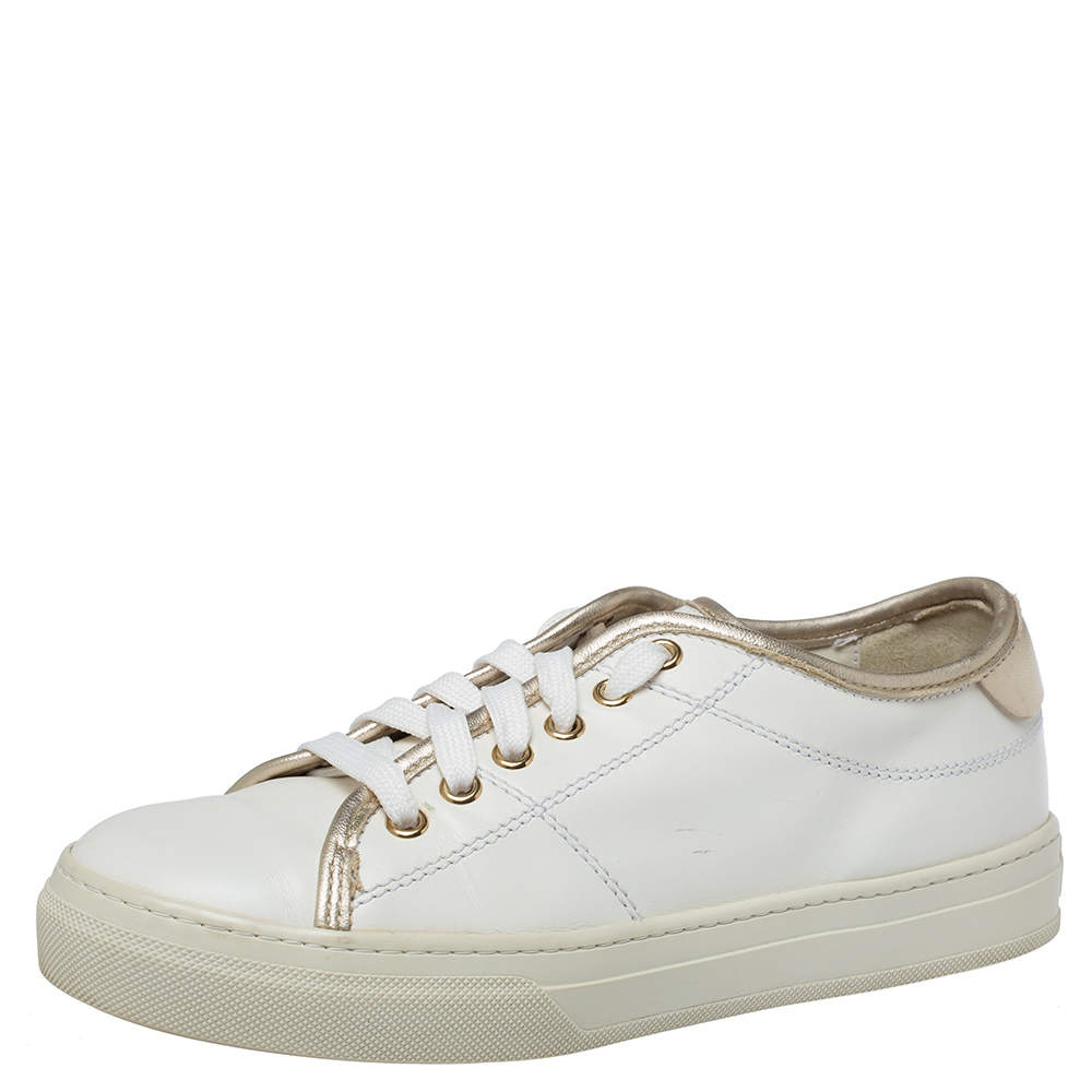 Tod's White/Gold Leather Low Top Sneakers Size 37