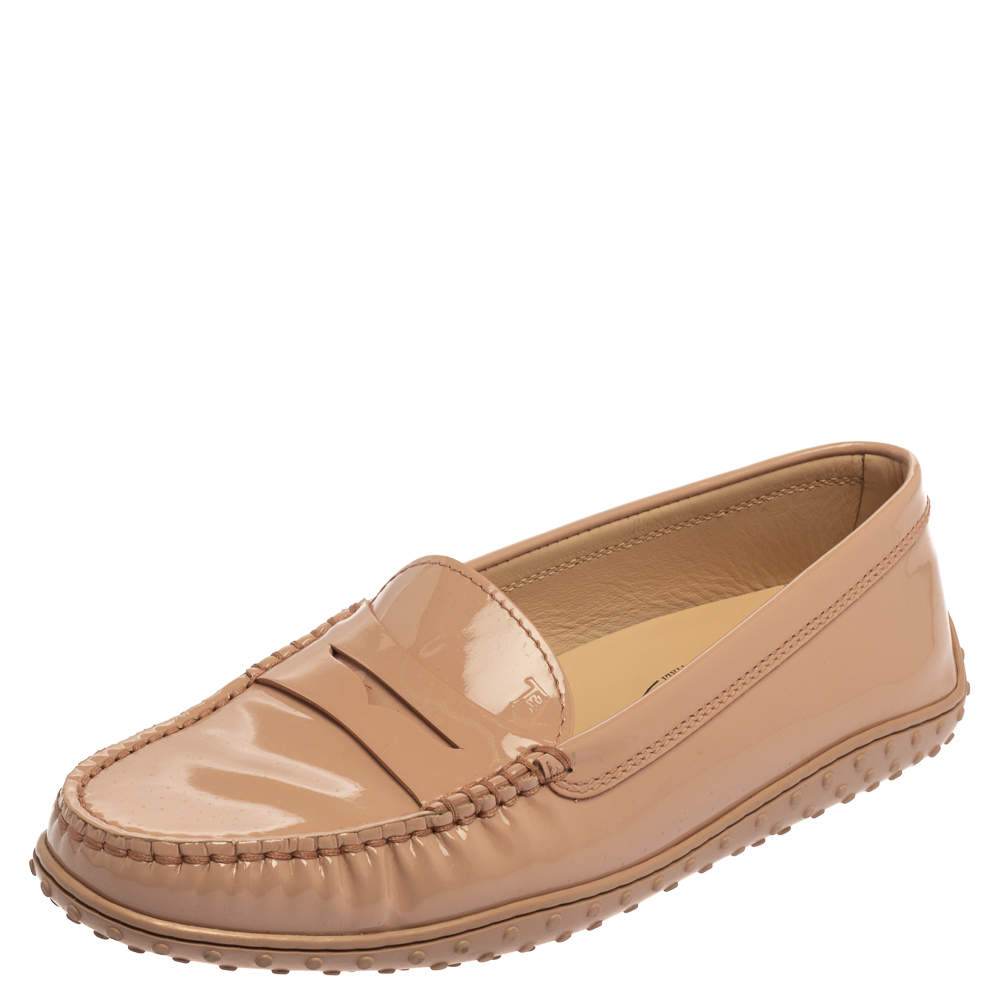 Tod's Pink Patent Leather Slip On Loafers Size 36