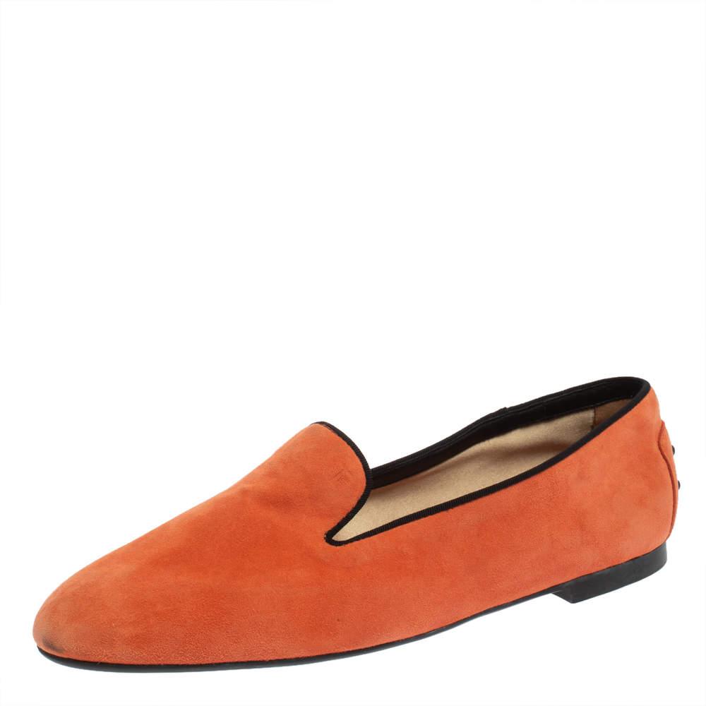 Tod's Orange Suede Smoking Slippers Size 41