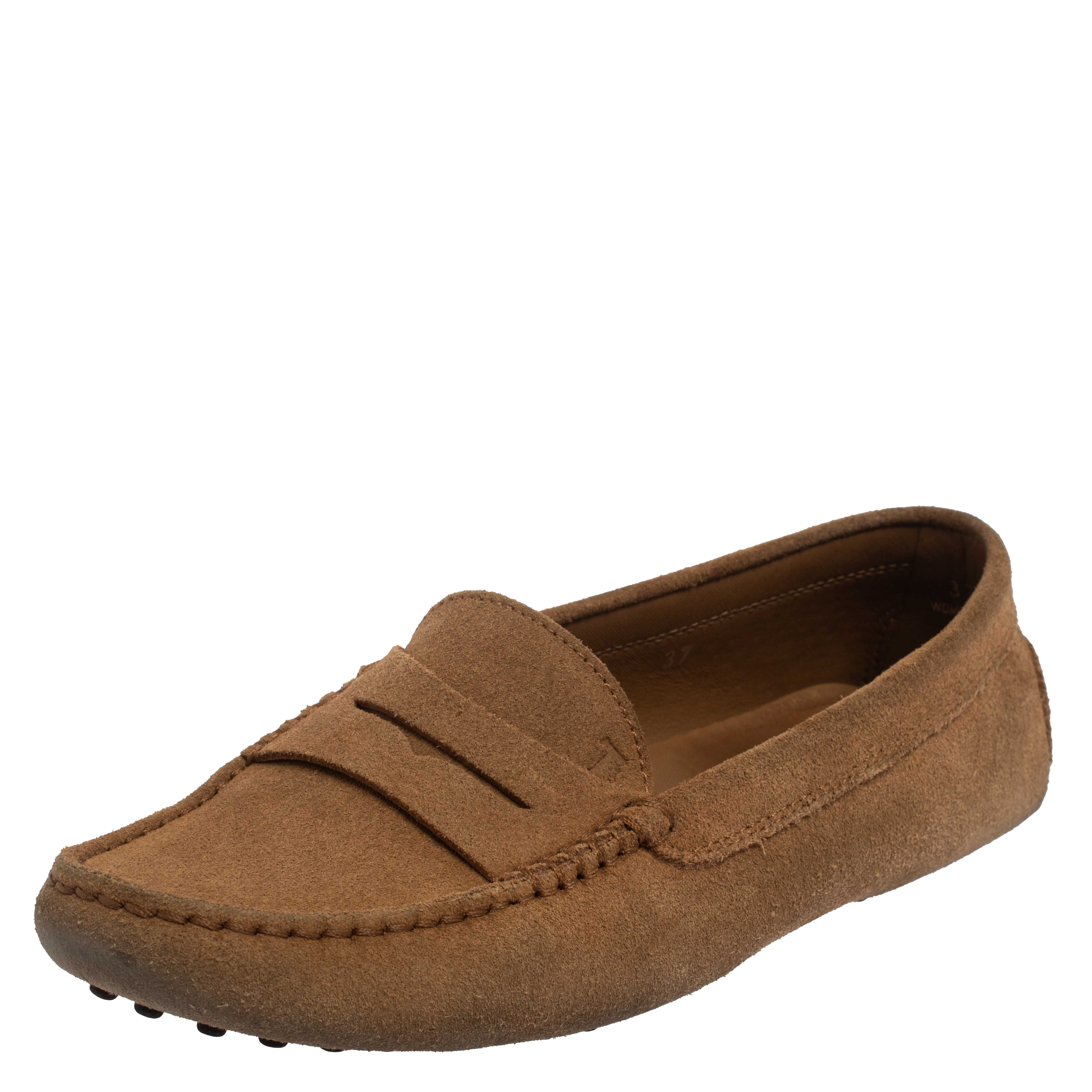 Tod's Brown Suede Penny Slip On Loafers Size 37