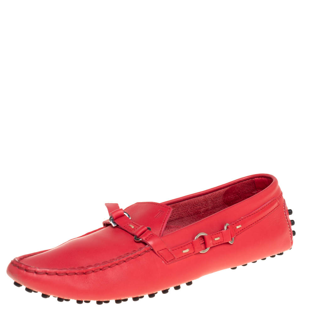 Tod's Pink Leather Slip On Loafers Size 38.5