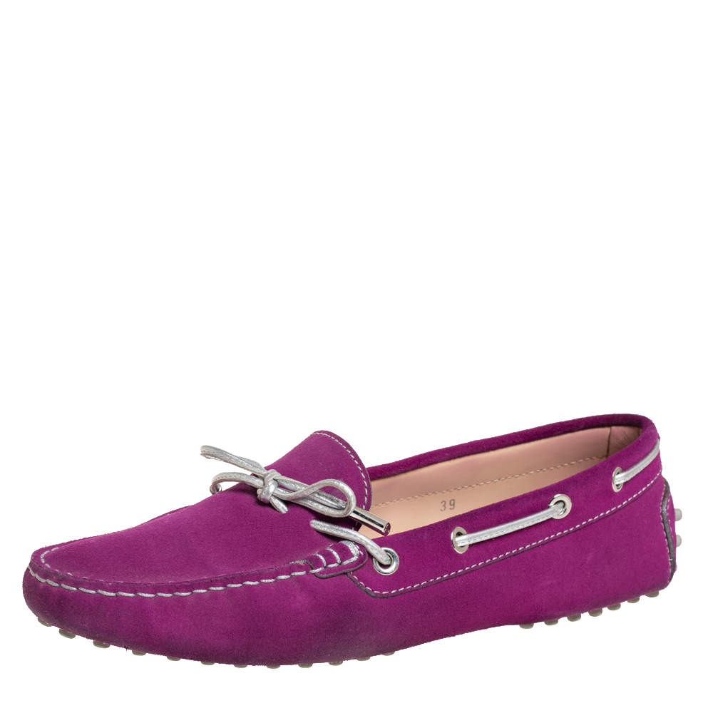 Tod's Purple/Silver Suede Loafers Size 39