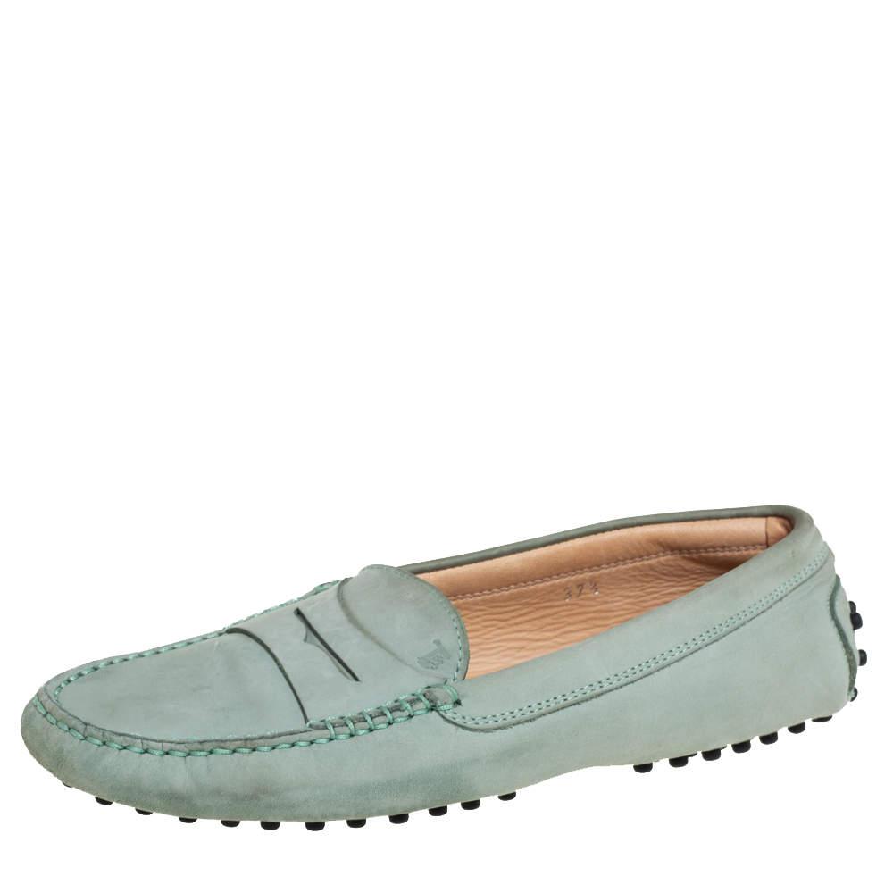 Tod's Grey Nubuck Leather Penny Slip On Loafers Size 37.5