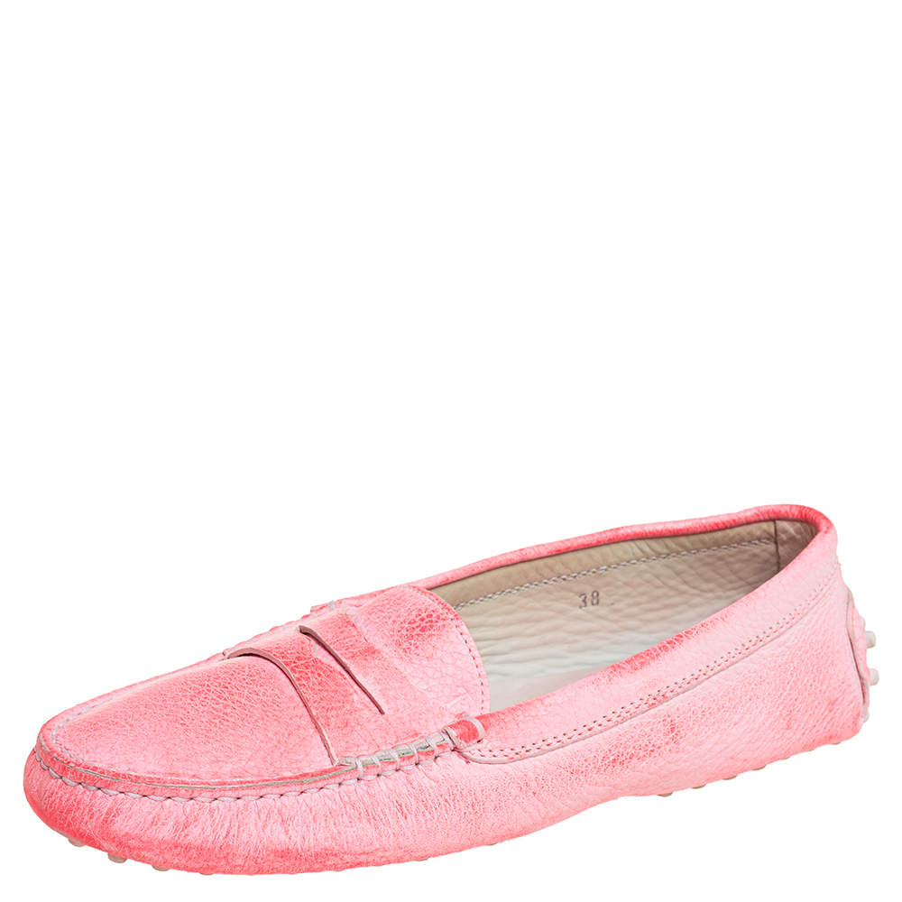 Tod's Pink Leather Penny Loafers Size 38