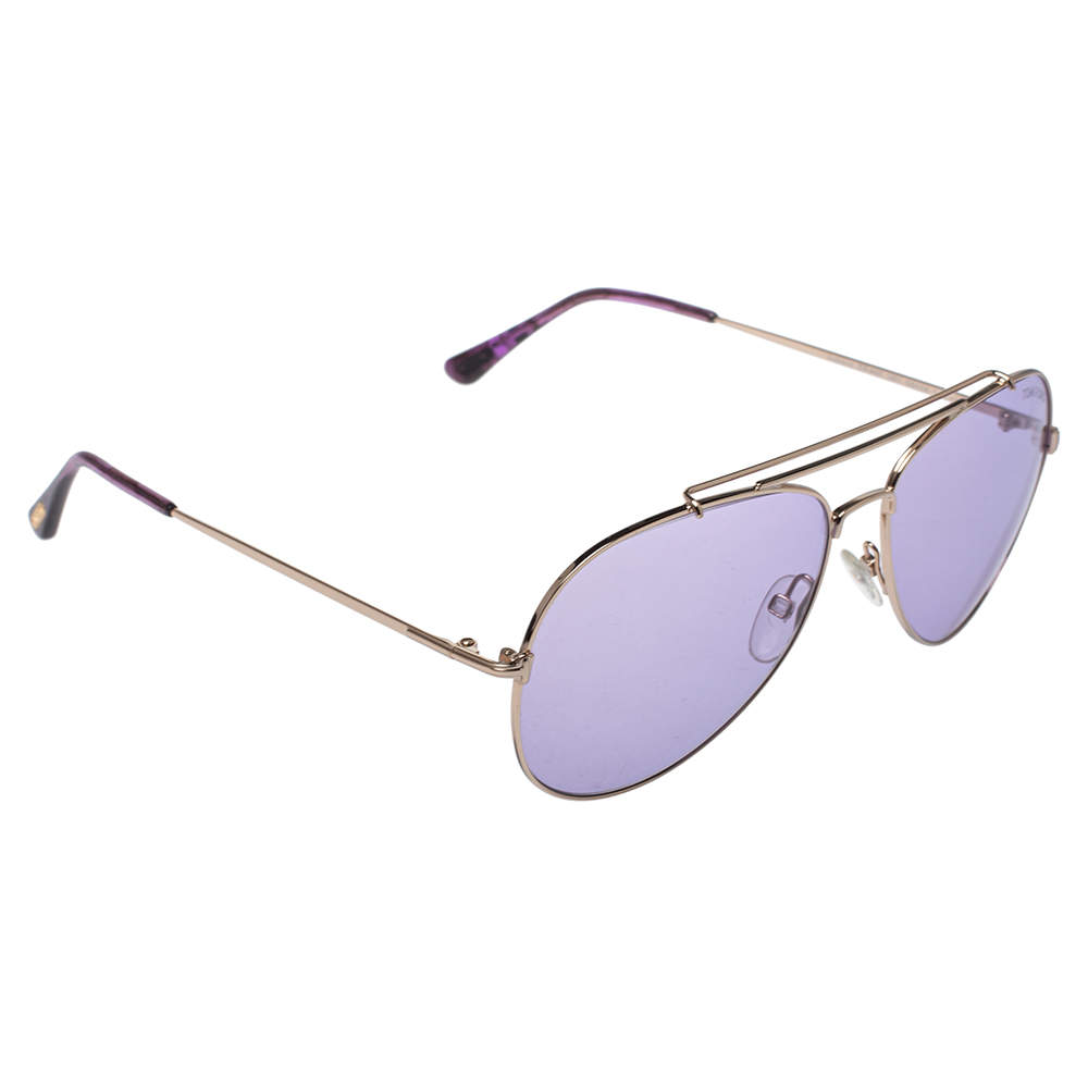 Tom Ford Purple/Gold Indiana Aviator Sunglasses