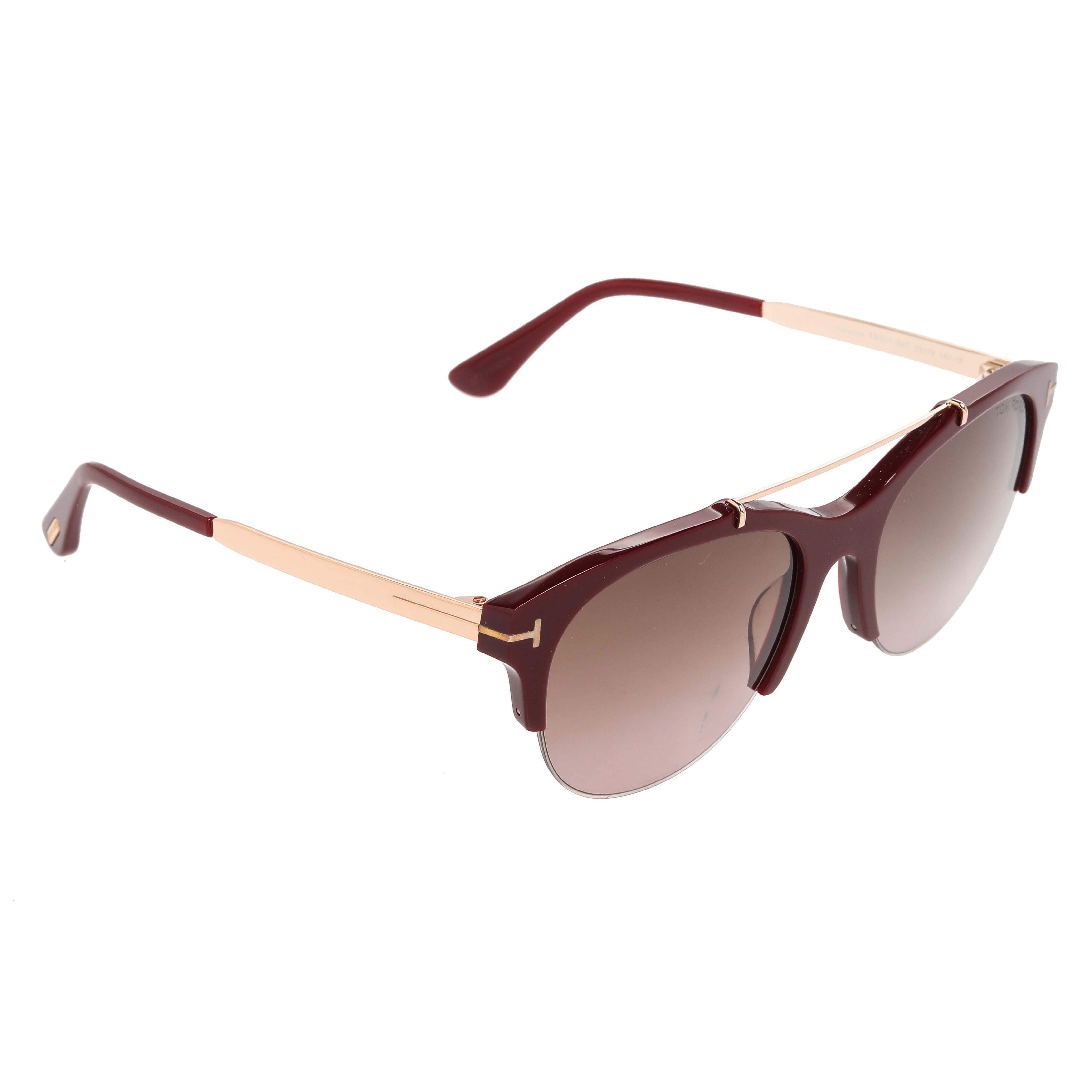 Tom Ford Maroon/Grey Gradient Adrenne Semi Rimless Sunglasses