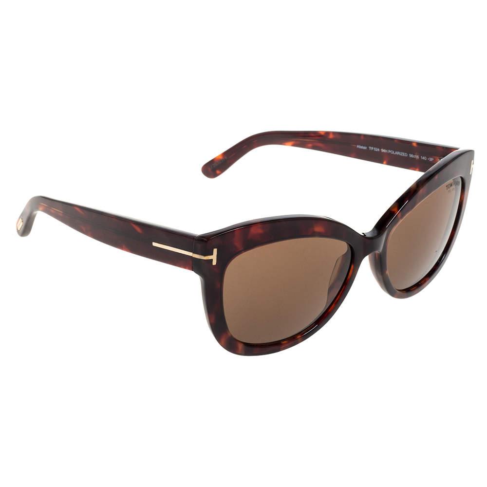Tom Ford Brown Tortoise Polarized Alistair Cat Eye Sunglasses
