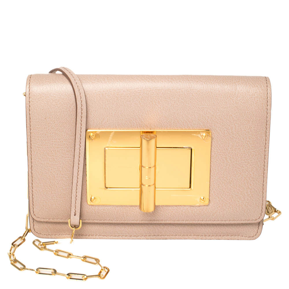 Tom Ford Beige Leather Natalia Wallet On Chain