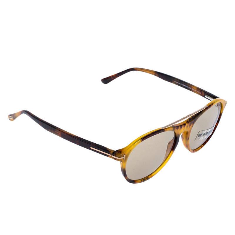Tom Ford Light Brown Cameron Oval Double Bridge Sunglasses