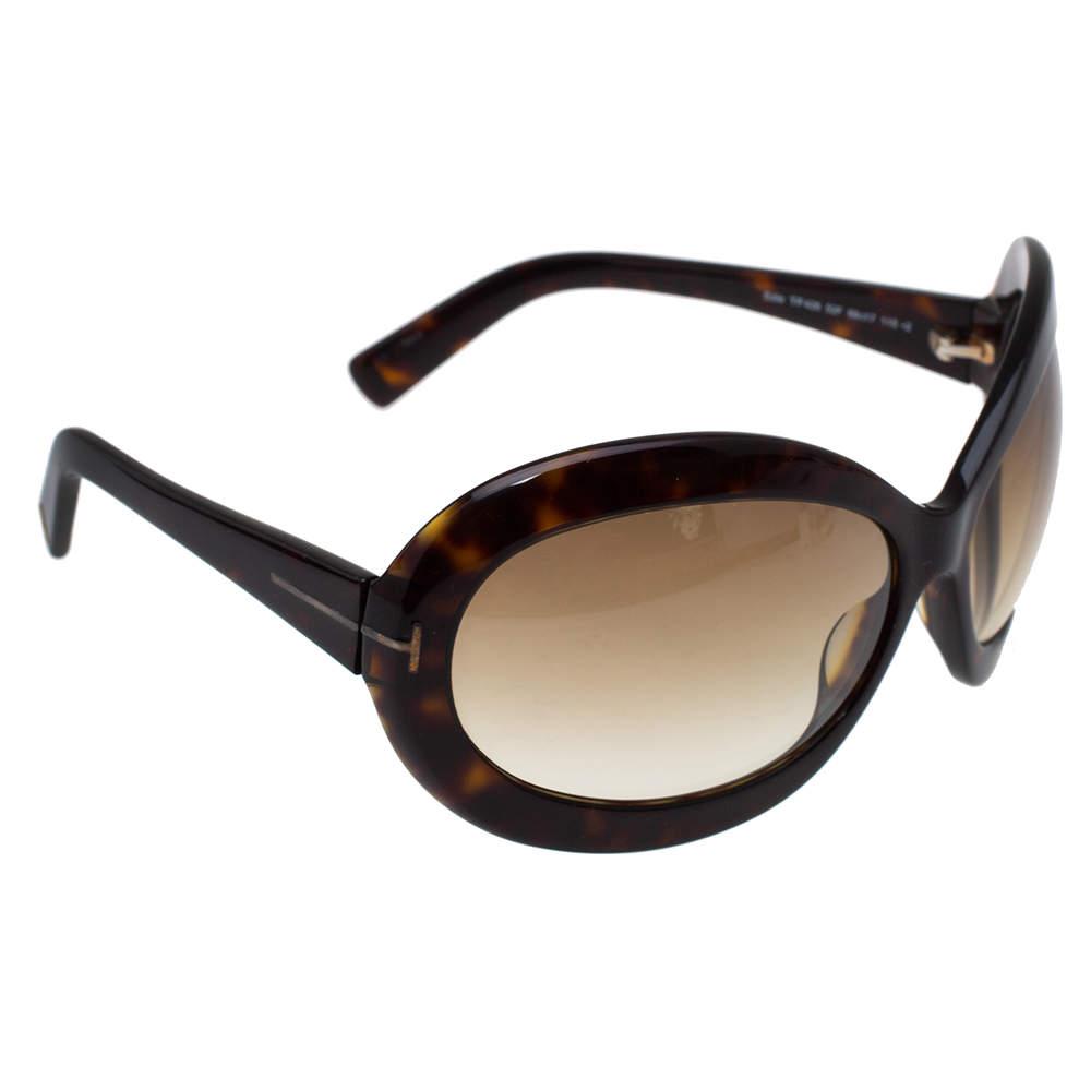 Tom Ford Dark Havana/ Brown Gradient TF428 Edie Oval Sunglasses