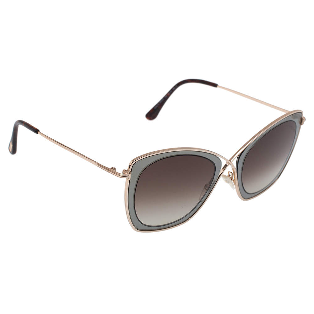 Tom Ford Pale Gold Tone/ Brown Gradient TF605 India 02 Butterfly Sunglasses