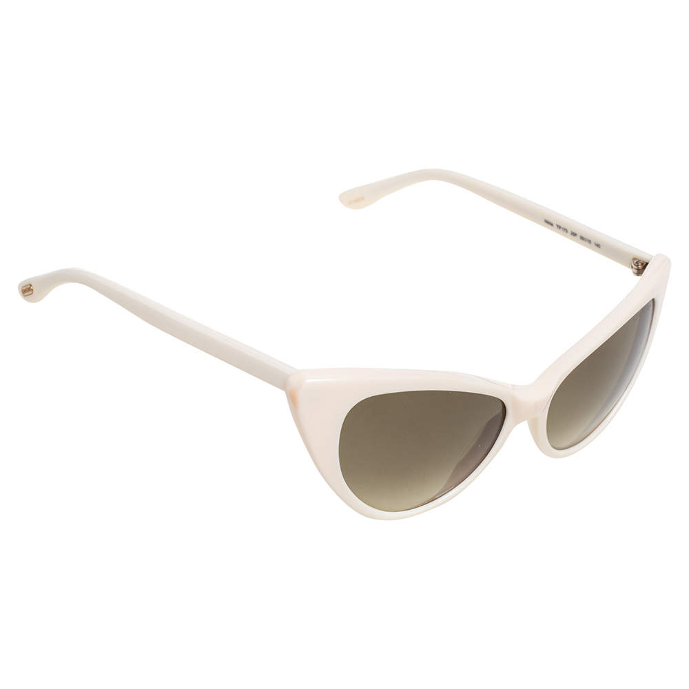 Tom Ford Off-White/ Green Gradient TF173 Nikita Cat Eye Sunglasses