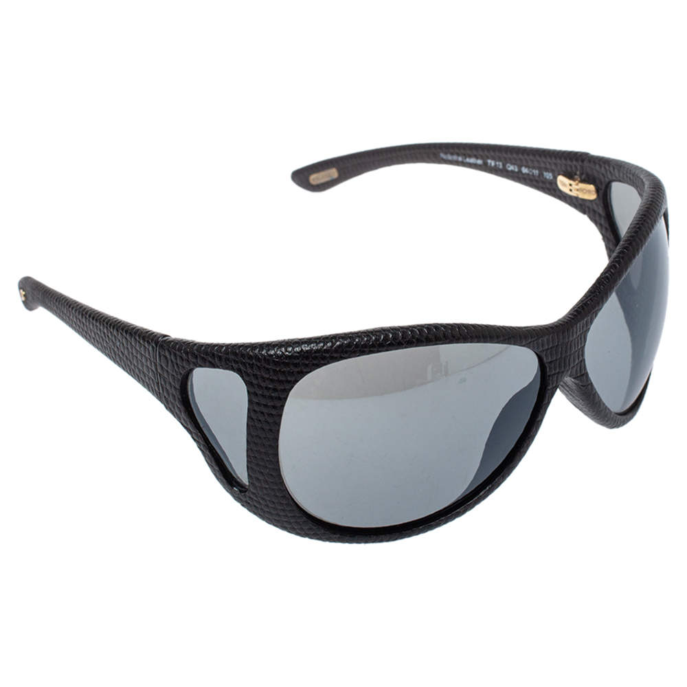 Tom Ford Black Natasha Textured Leather Shield Sunglasses