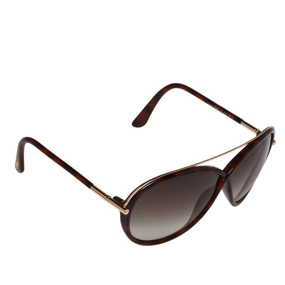 Tom Ford Brown Havana/ Grey Gradient TF454 Tamara Butterfly Sunglasses