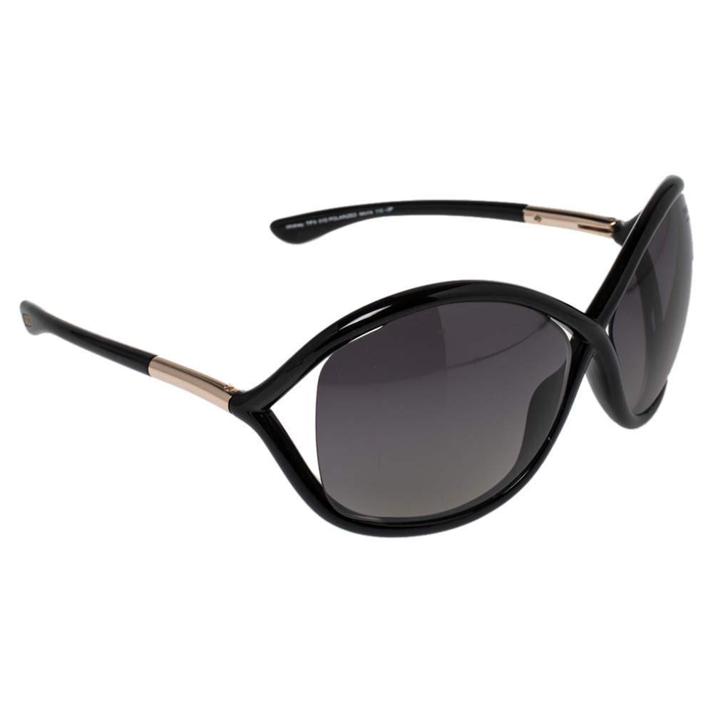 Tom Ford Black / Smoke Gradient Polarized FT0009 Whitney Oversized Sunglasses