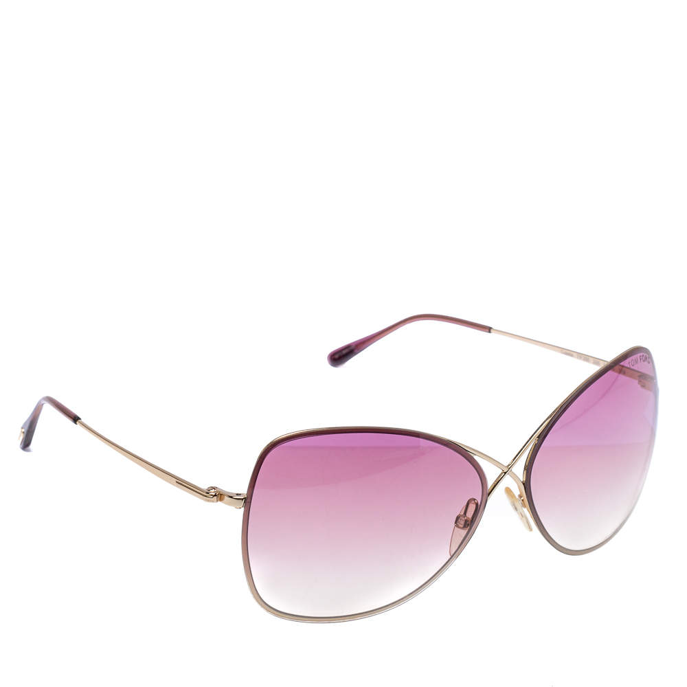Tom Ford Rose Gold Tone/ Pink Gradient TF250 Colette Butterfly Sunglasses