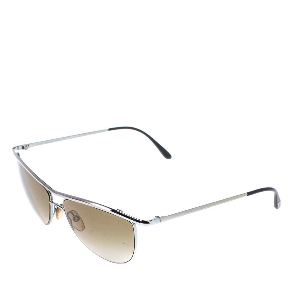 Tom Ford Silver Tone/ Green Gradient TF182 Helene Aviator Sunglasses