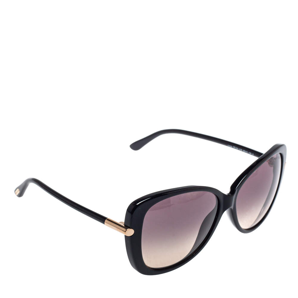 Tom Ford Black / Smoke & Ochre Gradient FT0324 Linda Butterfly Sunglasses