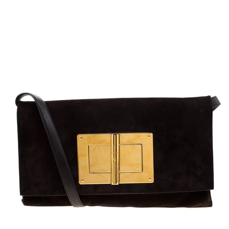 حقيبة كلاتش توم فورد كونفرتيبل ناتاليا جلد نوبوك بنية داكنة