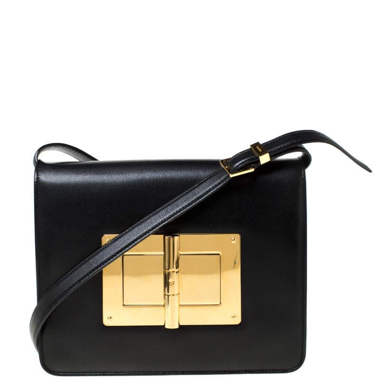 حقيبة كروس توم فورد نتاليا جلد سوداء