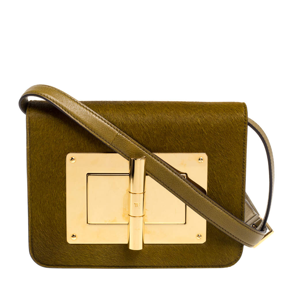 Tom Ford Avocado Green Calfhair and Leather Small Natalia Crossbody Bag