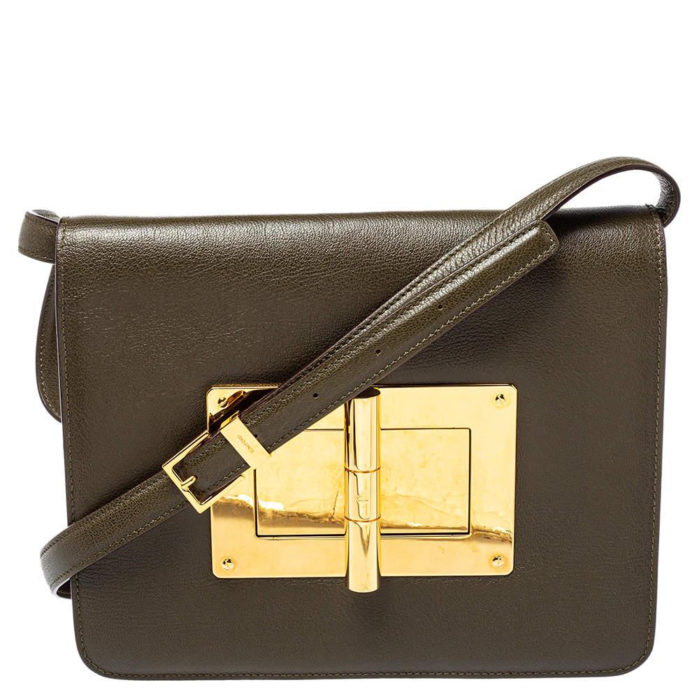 Tom Ford Olive Green Leather Large Natalia Shoulder Bag