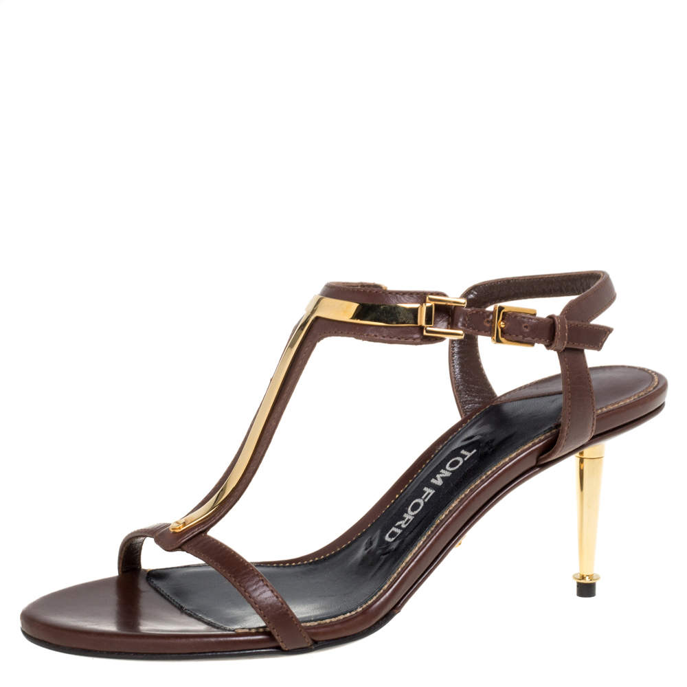 Tom Ford Dark Brown Leather T Bar Ankle Strap Sandals Size 37
