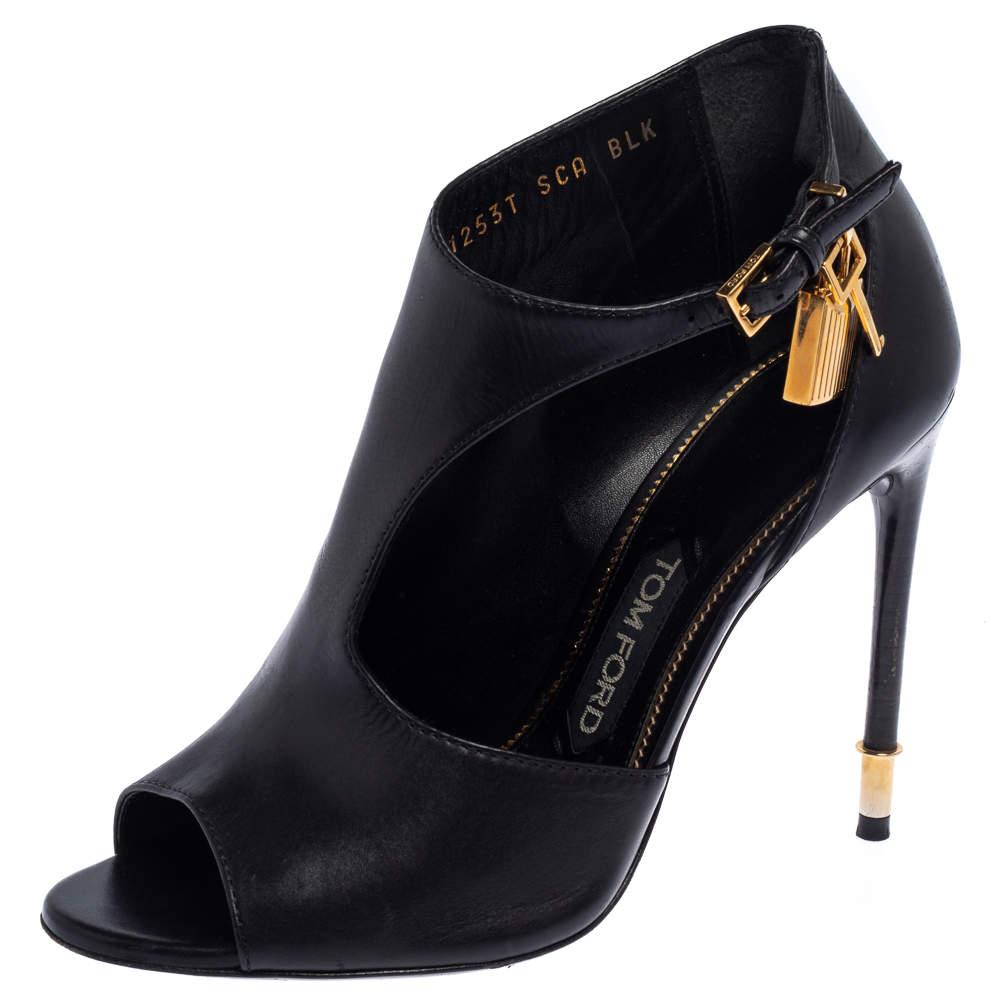 Tom Ford Black Leather Padlock Peep Toe Booties Size 37