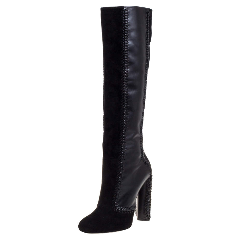 Tom Ford Black Suede Leather Knee Length Boots Size 42