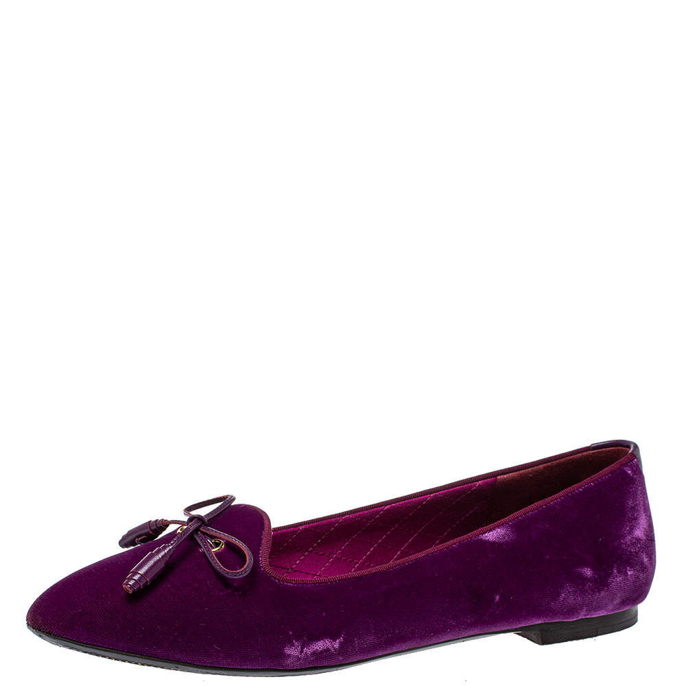 Tom Ford Purple Velvet Bow Almond Toe Ballet Flats Size 39