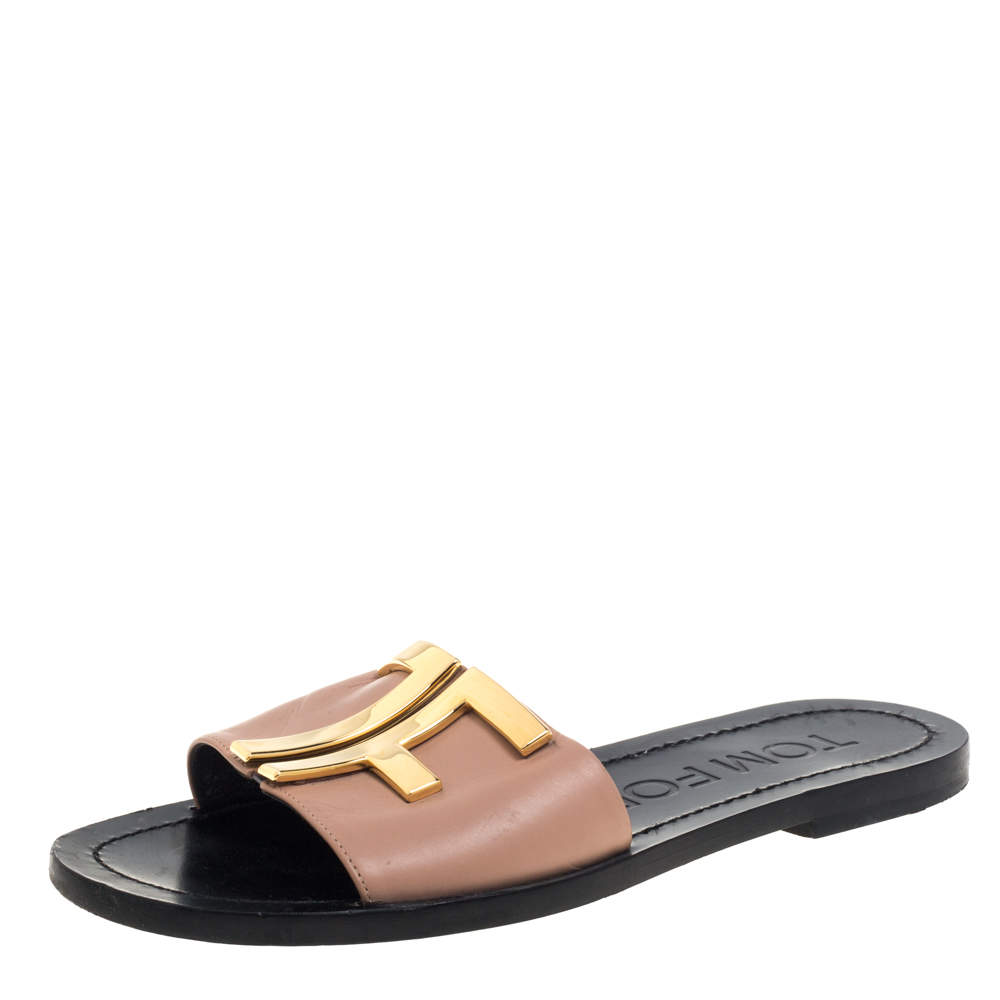 Tom Ford Beige Leather Logo Embellished Flat Slides Size 36