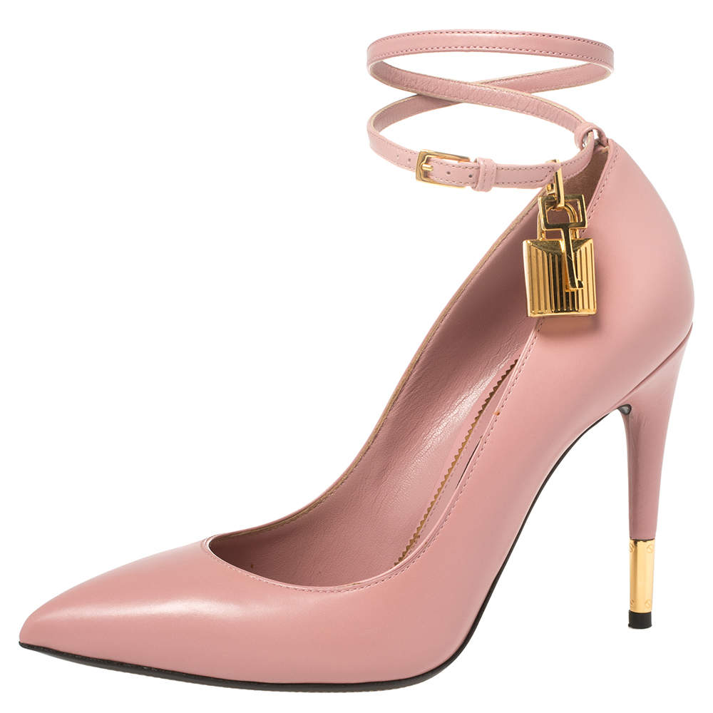 Tom Ford Pink Leather Padlock Ankle Strap Pointed Toe Pumps Size 37.5