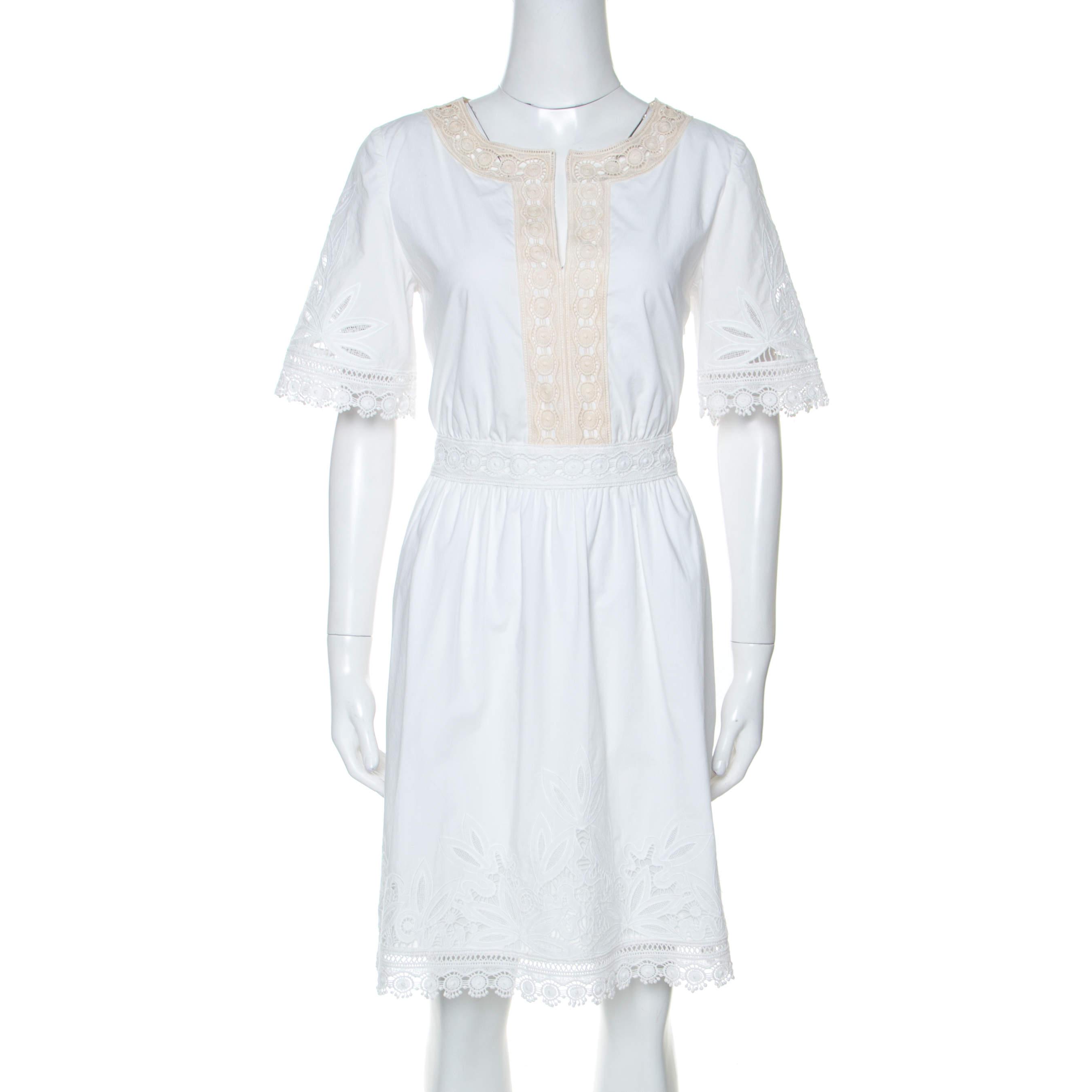 Tory Burch White Cotton Lace Trim Larissa Dress S