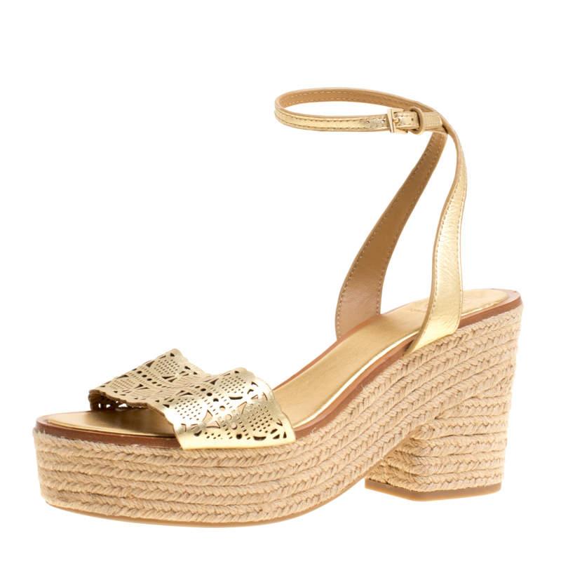 Tory Burch Gold Laser Cut Leather Roselle Espadrille Platform Sandals Size 41