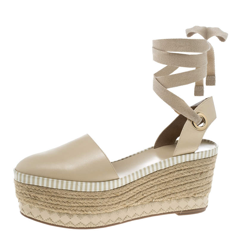 Tory Burch Beige Leather Dandy Ankle Wrap Espadrille Wedge Sandals Size 40