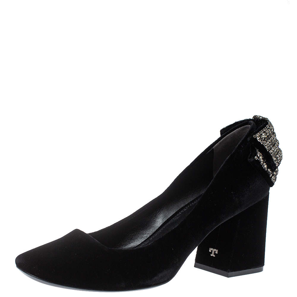 Tory Burch Black Velvet Josephine Pumps Size 39