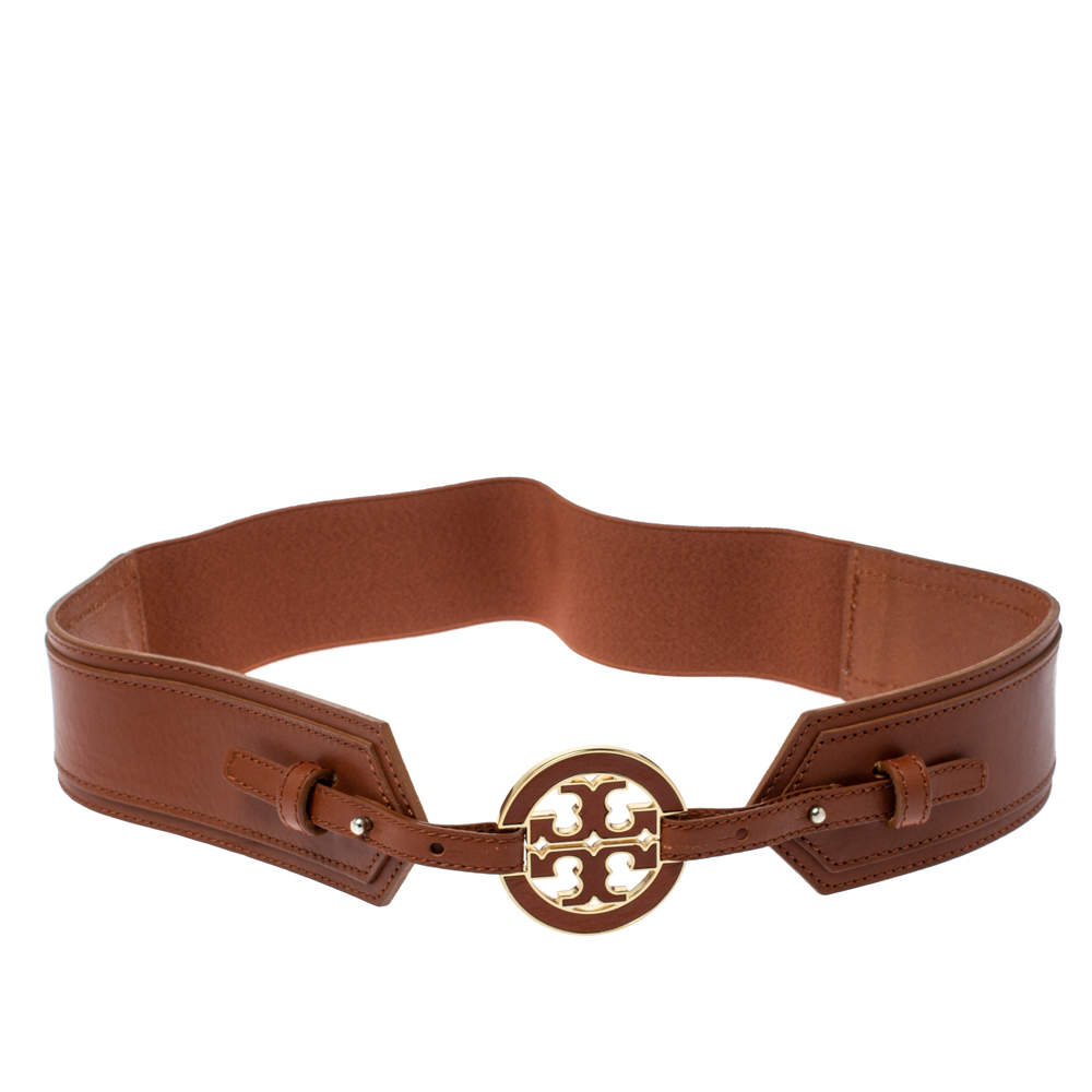 Tory Burch Brown Leather And Elastic Band Waist Belt L