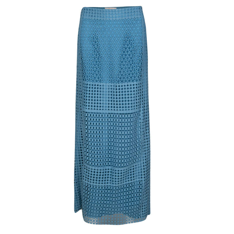 Tory Burch Blue Crescent Guipure Lace Slit Detail Maxi Skirt S