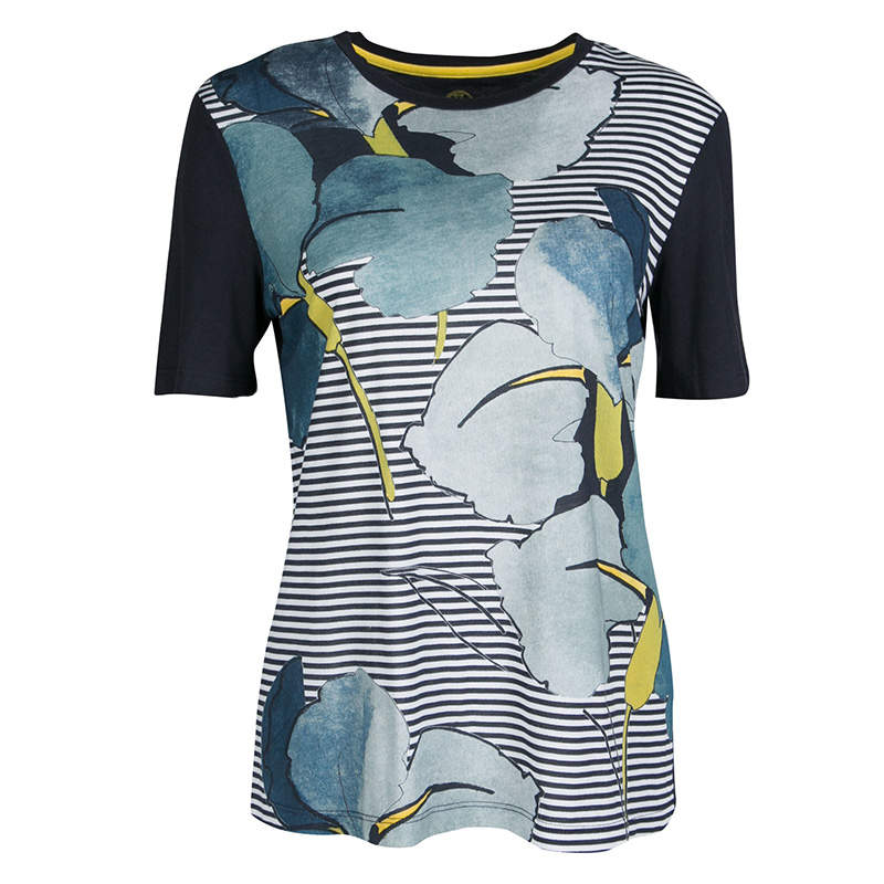 Tory Burch Navy Blue Cathy Print Striped Pima Cotton T- Shirt S